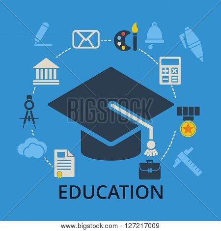 Graduation cap with education icons. Academic hat and icons for education training and tutorials. Education flat vector illustration on blue.