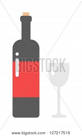 Glass and bottle of wine drink alcohol beverage winery cabernet design vector illustration. Wine bottle and glass elegance product, red wine bottle and bar glass. Merlot product champagne brand.