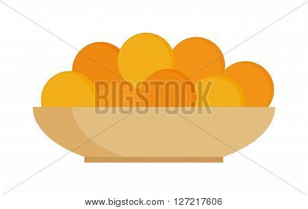 Fresh fruit citrus oranges on plate dinner vitamin color eating juicy vector illustration. Sweet oranges plate and fresh vitamin oranges plate. Citrus oranges plate tropical fruits.