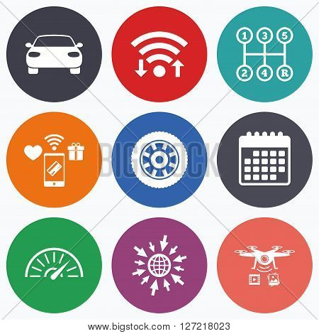 Wifi, mobile payments and drones icons. Transport icons. Car tachometer and mechanic transmission symbols. Wheel sign. Calendar symbol.