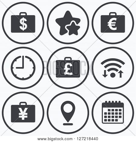 Clock, wifi and stars icons. Businessman case icons. Cash money diplomat signs. Dollar, euro and pound symbols. Calendar symbol.