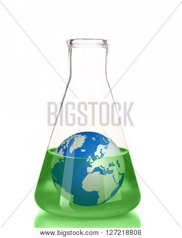 Flask with green fluid and small Earth planet inside isolated on white