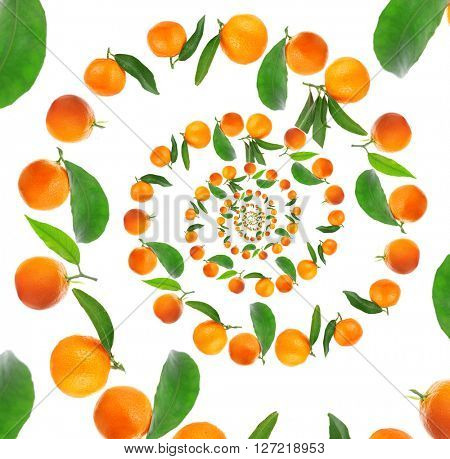 Tangerines spiral isolated on white