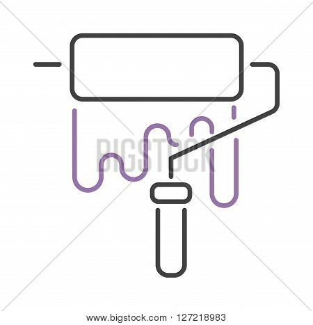 Paint roller thin line icon flat vector illustration. Some roller icon vector isolated on white background. Paint flat style  roller icon work tool. Paint brush icon isolated. Brush line thin icon