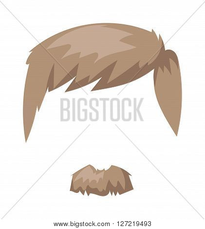 Hairstyles blond beard and hair face cut mask flat cartoon collection. Vector mail beard hair illustration. Flat hair and beards fashion style. Hairstyle set, haircut icons. Mans face beard mustache