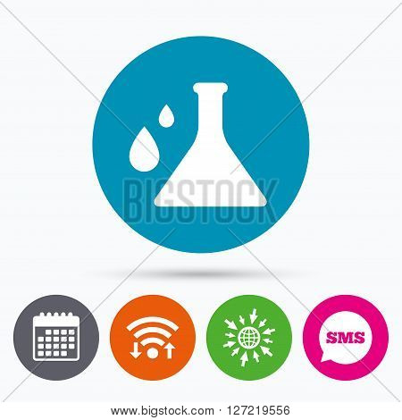 Wifi, Sms and calendar icons. Chemistry sign icon. Bulb symbol with drops. Lab icon. Go to web globe.