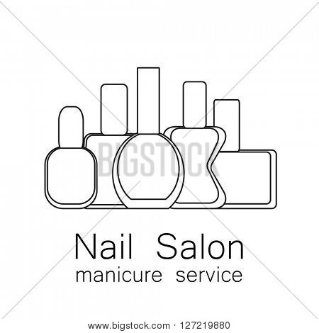 Nail Salon logo.  Symbol of manicure. Simple linear nail polishes on a white background. Cosmetic label.