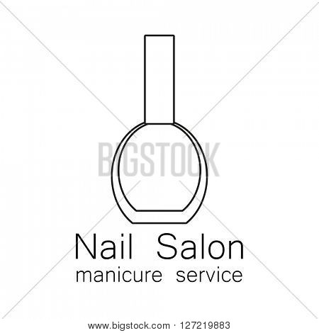 Nail Salon logo. Simple linear nail polishes on a white background. Beauty industry, nail salon, manicure service, spa boutique, cosmetic products. Cosmetic label.