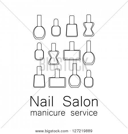 Nail Salon logo.  Beauty industry, nail salon, manicure service, spa boutique, cosmetic products. Cosmetic label.