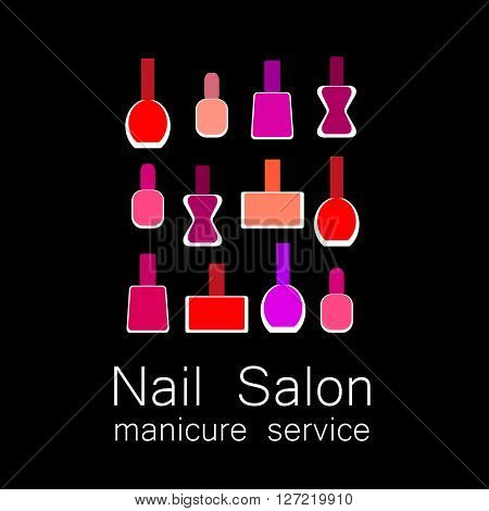 Nail polish logo. Colorful nail polish on  black background. Design sign - nail care. Beauty industry, nail salon, manicure service, spa boutique, cosmetic products. Cosmetic label.