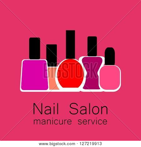Nail Salon logo. Symbol of manicure. Design sign - nail care. Beauty industry, nail salon, manicure service, spa boutique, cosmetic products.