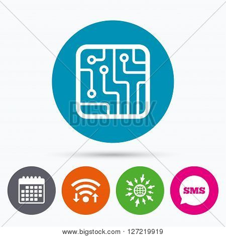 Wifi, Sms and calendar icons. Circuit board sign icon. Technology scheme square symbol. Go to web globe.