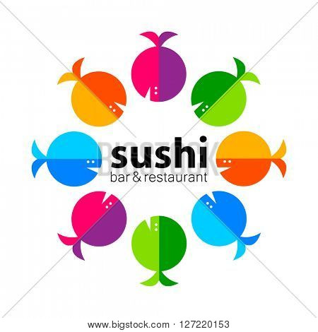 Sushi logo. Sushi bar restaurant design element. Sushi food,  sashimi, japanese food, sushi fish, sushi chef, sushi menu, japanese restaurant.