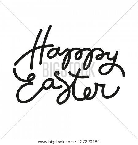 Happy easter. Easter lettering. Black inscription on a white background. Easter illustration. Handwriting inscription.