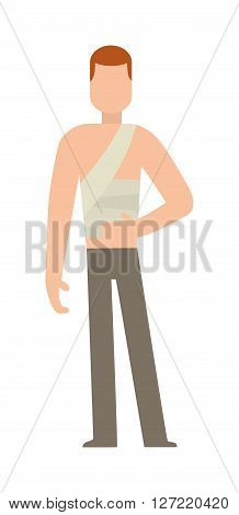 Cast on an broken arm of men hard pain medical accident character vector illustration. Man with broken arm and patient broken arm. Character with broken arm bone emergency people injured treatment.
