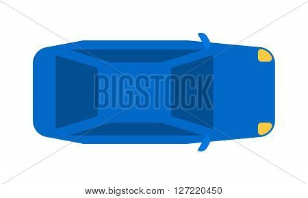 Generic blue car top view vehicle flat automobile new transport vector illustration. Car top view design and modern sedan car top view. Car top view symbol motor drive graphic design.