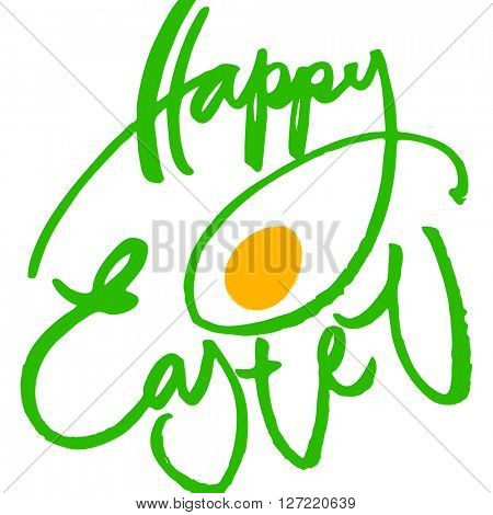 Happy easter. Easter lettering. Inscription on a white background with egg. Easter illustration. Handwriting calligraphy inscription.