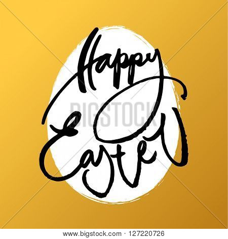 Happy Easter card. Easter lettering template. The inscription on a gold background with egg. Easter illustration. Handwriting calligraphy inscription.