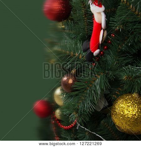 Christmas Card, Christmas Tree Decorated, Green Background