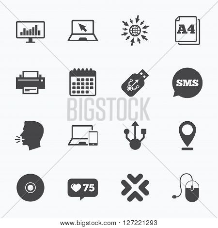 Calendar, go to web and like counter. Computer devices icons. Printer, laptop signs. Smartphone, monitor and usb symbols. Sms speech bubble, talk symbols.