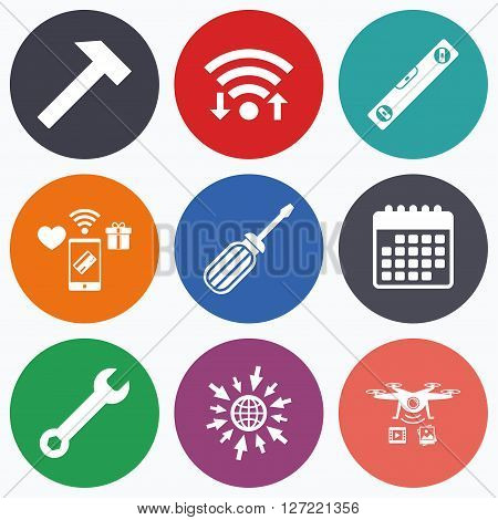 Wifi, mobile payments and drones icons. Screwdriver and wrench key tool icons. Bubble level and hammer sign symbols. Calendar symbol.
