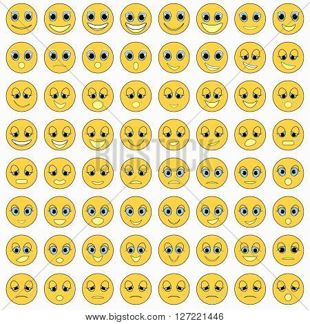 set of emoticons sad kind happy vector illustration