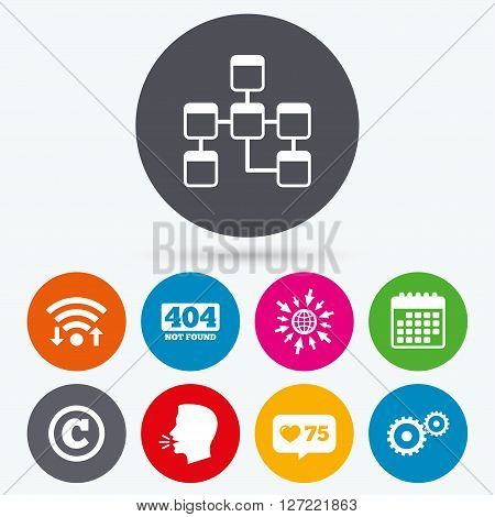 Wifi, like counter and calendar icons. Website database icon. Copyrights and gear signs. 404 page not found symbol. Under construction. Human talk, go to web.