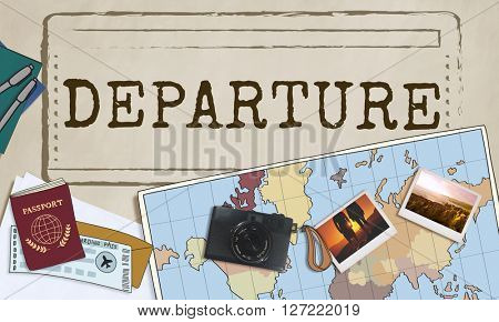 Departure Flight Travel Leaving Word Concept