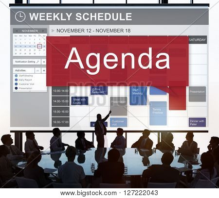 Agenda Appointment Goals Information List Plan Concept