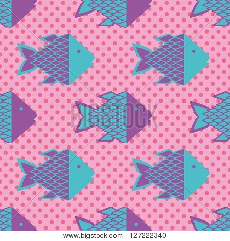 Funky fish, Seamless pattern with colorful fish, vector illustration