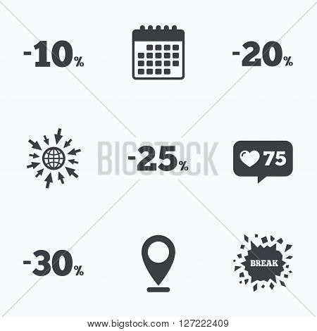 Calendar, like counter and go to web icons. Sale discount icons. Special offer price signs. 10, 20, 25 and 30 percent off reduction symbols. Location pointer.