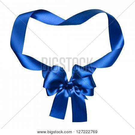 blue silk bow and ribbon decoration object on white as frame