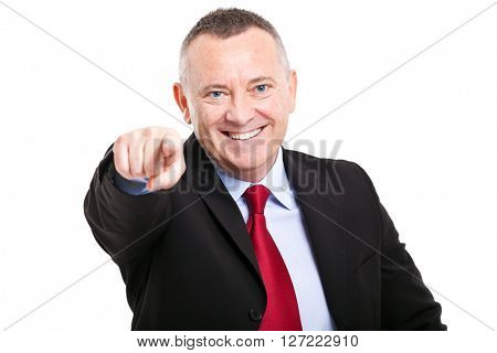 Elder businessman pointing at you