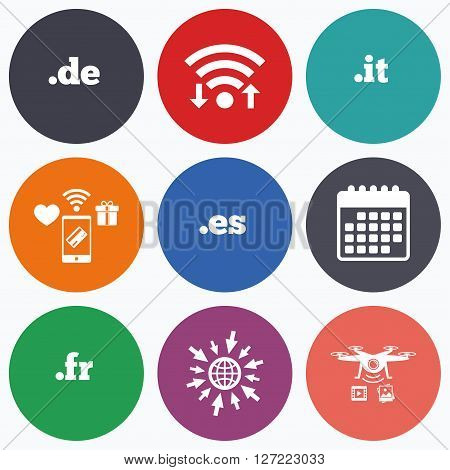 Wifi, mobile payments and drones icons. Top-level internet domain icons. De, It, Es and Fr symbols. Unique national DNS names. Calendar symbol.