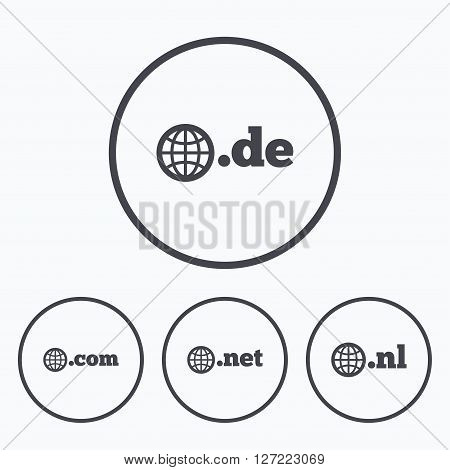 Top-level internet domain icons. De, Com, Net and Nl symbols with globe. Unique national DNS names. Icons in circles.