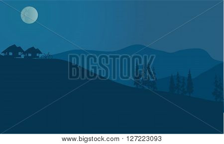 Vector illustration landscape of mountains in fog at night
