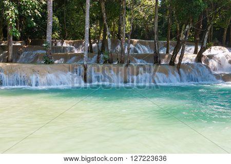 Tad Sae Waterfall is a beautiful tourist sites, Luang Prabang, Laos.