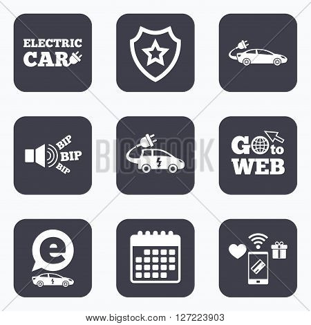Mobile payments, wifi and calendar icons. Electric car icons. Sedan and Hatchback transport symbols. Eco fuel vehicles signs. Go to web symbol.