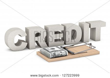 Credit Risk Concept. Mouse trap with money against Credit Sign on a white background. 3d Rendering