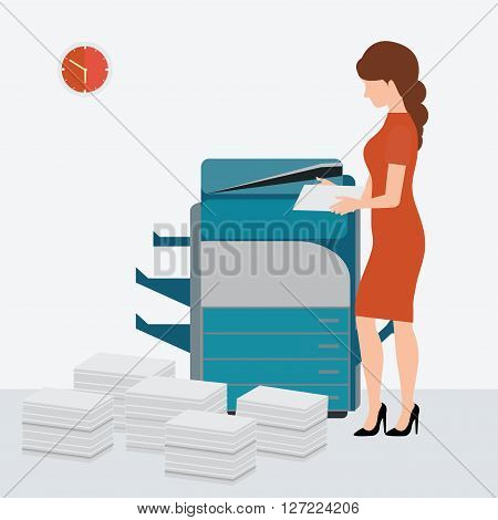 Business woman using copy print machine with Stacked pile of file documents vector illustration.