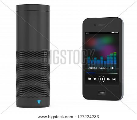 Wireless Speakers connected to Mobile Phone on a white background. 3d Rendering