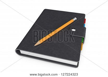 Personal Diary or Organiser Book with Black Leather Cover and Pencil on a white background. 3d Rendering