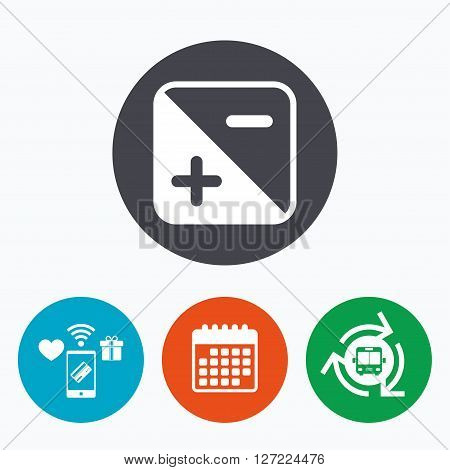 Exposure photo camera sign icon. Quantity of light settings. Mobile payments, calendar and wifi icons. Bus shuttle.