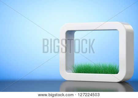 Grass in White Ceramics Planter on a blue background. 3d Rendering