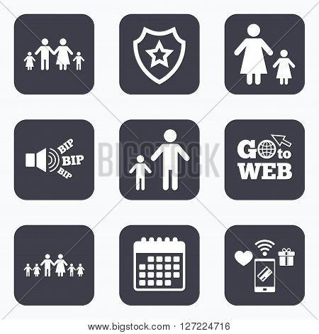 Mobile payments, wifi and calendar icons. Large family with children icon. Parents and kids symbols. One-parent family signs. Mother and father divorce. Go to web symbol.