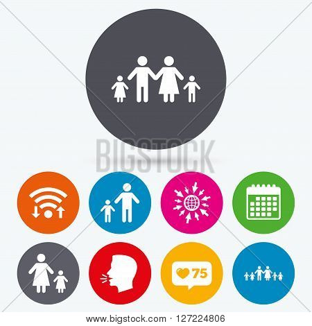 Wifi, like counter and calendar icons. Large family with children icon. Parents and kids symbols. One-parent family signs. Mother and father divorce. Human talk, go to web.