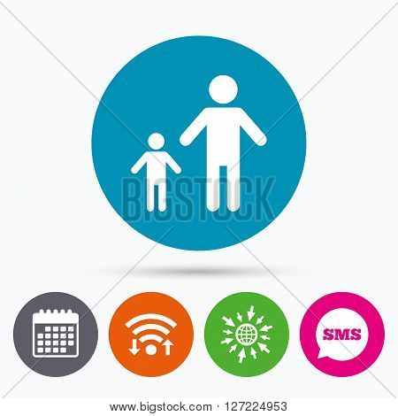 Wifi, Sms and calendar icons. One-parent family with one child sign icon. Father with son symbol. Go to web globe.