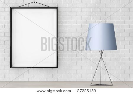 Modern Fashion Table Lamp in front of Brick Wall with Blank Frame extreme closeup. 3d Rendering