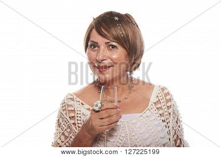Mature Lady With Glass Of Champagne