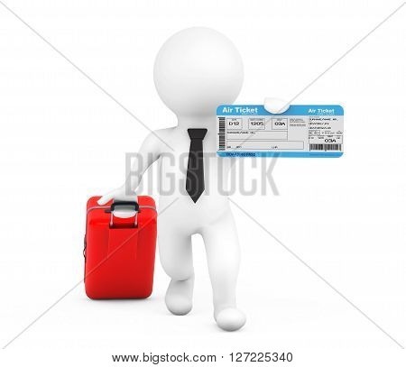 3d person with Suitcase and Air Ticket on a white background. 3d Rendering